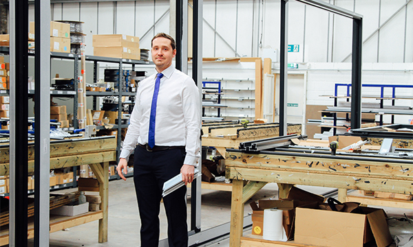 PR162 - Ben Warren in the factory with the Reynaers CP155 door copy