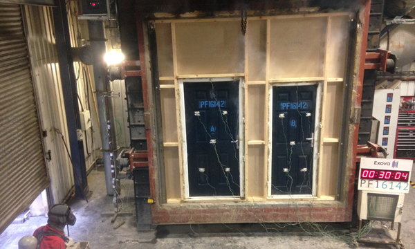 CPR2123 The AGILA fire door being successfully tested for 30 minute fire rating at Exova BM Trada