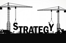 Crane and strategy building. Infographic Template. Vector Illustration.