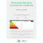 Rehau Limited Renewable Energy Commitment Certifcate