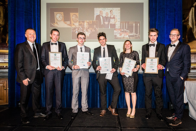 The shortlist for the Apprentice and Trainee Awards with Guest Speaker Graham Poll (l) and BWF CEO Iain McIlwee (r)