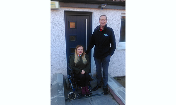 Shanice Robertson with Andrew Cadman of Thistle Windows